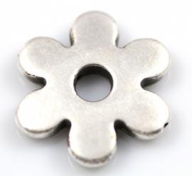 Bloem met gat in het midden 30mm zilverkleurig