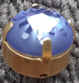 Swarovski #1695 14mm Tanzanite in goldplated rijgkastje, per stuk
