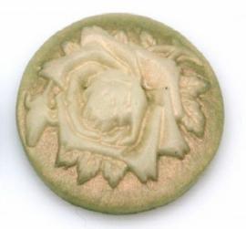 20mm rond parelmoer/groen, rozen, per stuk