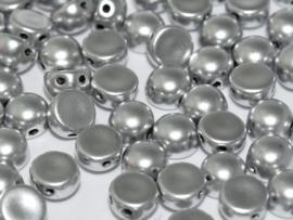 2-Hole Cabochon 6mm Aluminium Silver, per 25 stuks