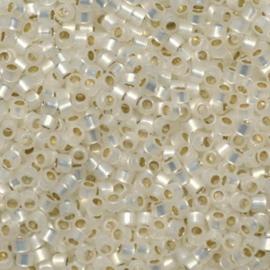 DB0221 Miyuki Delica 11/0 Gilt Lined White Opal, per 5 gram