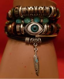Armband, verstelbaar, 5 rijen met kralen, veer, oog, per stuk