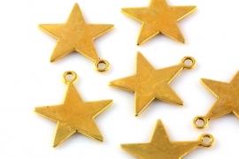 Hanger ster antique goud 23 x 21 mm per 1, 10 of 100 stuks