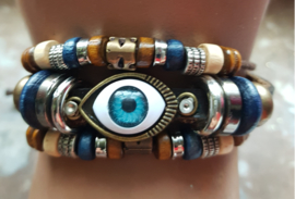 Armband, verstelbaar, 3 rijen met kralen, oog, per stuk