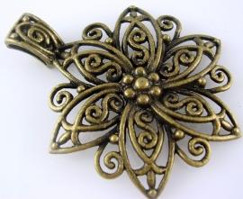Hanger bloem antiek brons 65 bij 45mm