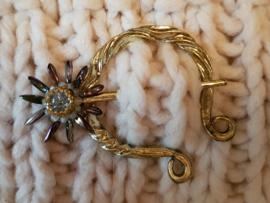 Sjaalspeld goud- en zilverkleur, 5,5x6cm, naald 8,5cm, per stuk