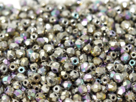 00030/98554 Fire polished 3mm Crystal Glittery Argentic, 100 of 50 stuks, vanaf