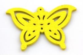 Hanger 50x35mm Hout Vlinder Geel, per stuk