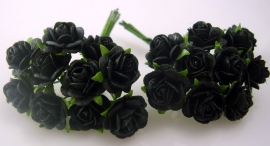 Miniroosje 1cm Zwart, per 10 stuks