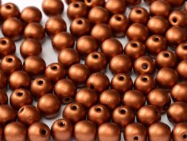 Tsjechisch/Czech rond 6mm Copper, per 30 stuks