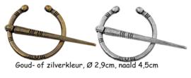 Sjaalspeld brons- en zilverkleur, Ø 2,9cm, naald 4,5cm, per stuk