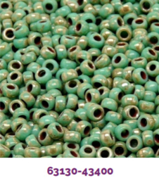 MTB07-TP63130 Matubo Seed Bead 7/0 Green Turquoise Silver Picasso, per 10 gram