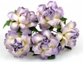 Papieren bloem 2 kleurig 3.75 cm lavendel / creme per 5 stuks