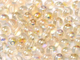 Tsjechisch/Czech rond Beads 4 mm Crystal Lemon Rainbow, per 100 stuks
