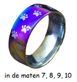 Ring roestvrij staal Regenboog, katten/hondenpootjes, per stuk