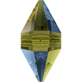 Swarovski #5747 Double Spike Bead 12x6mm Crystal Iridescent Green, per stuk