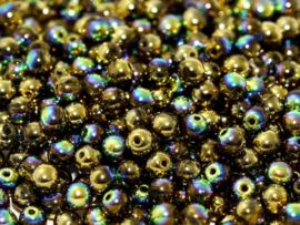 Tsjechisch/Czech rond 6mm Crystal Glittery Amber, per 30 stuks