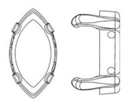 Swarovski #4228/S Navette 15x7mm setting Rhodiumplated, per stuk