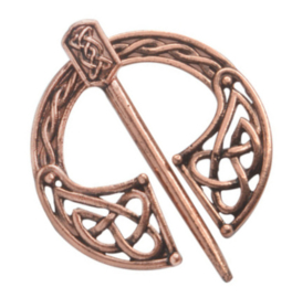 Sjaalspeld bronskleur, Ø 3,8cm, naald 4,9cm