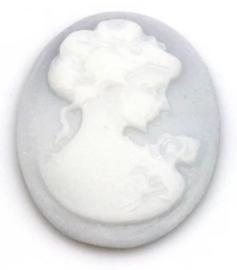 21x29mm ovaal, vrouw grijs/wit en zwart/wit, per stuk