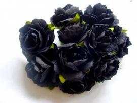 Roos 3cm Mulberry papier Zwart R21/274, per 5 stuks