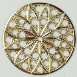 Neumann Claspgarten Filigraan Rond 30mm 23KT Gold Plated, per stuk