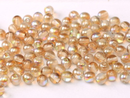 Tsjechisch/Czech rond 3mm Crystal Brown Rainbow, per 100 stuks