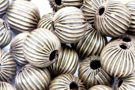 Bronze Corrugated Beads, Nickel Free, Antique Bronze, 12mm gat 2.5mm per 6 stuks