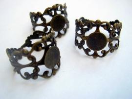 Ring antique bronskleur binnenmaat 19mm verstelbaar