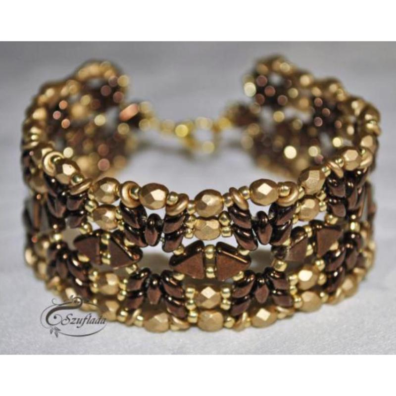 Armband 'Golden Chocolate', ontwerp Agnieszka, met o.a. Khéops®