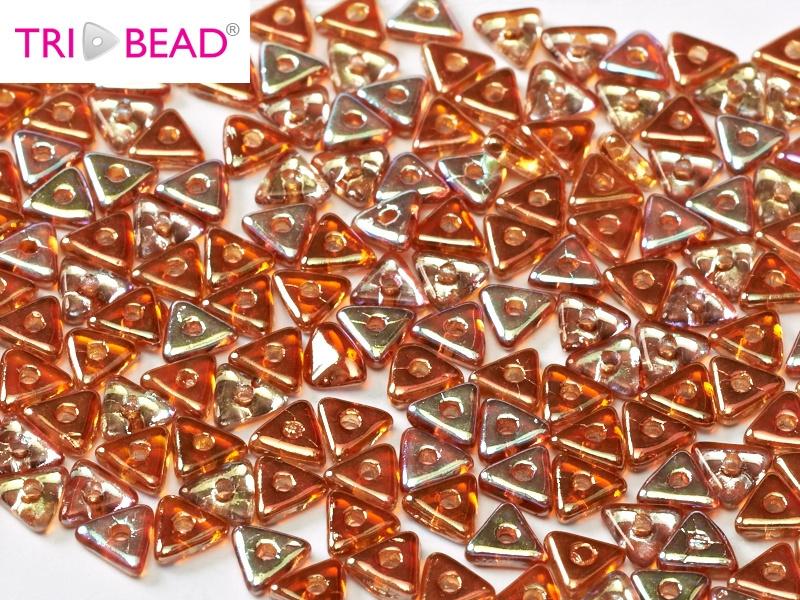 Tri-bead Crystal Orange Rainbow, per 5 gram (±140 stuks)