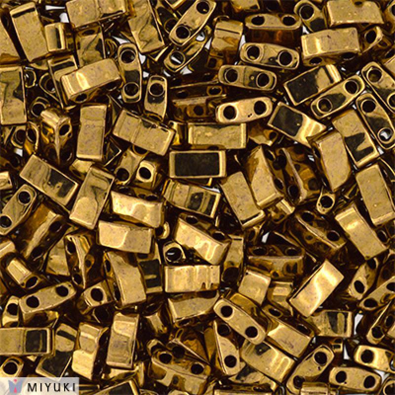 HTL-0457 Half Tila Beads Metallic Dark Bronze, per 5 gram