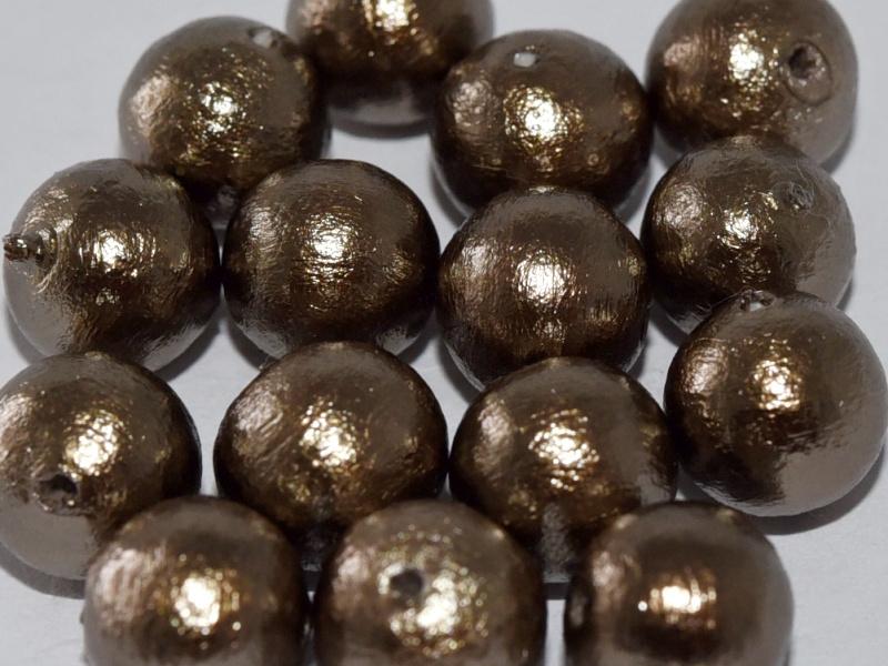 Cotton Pearl Bronze 8mm, per 5 stuks