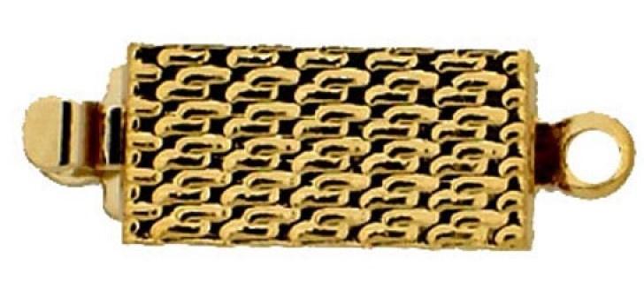 13613/01 Neumann Claspgarten 12x6mm Schuifslot met 1 oog 23KT Gold Plated, per stuk