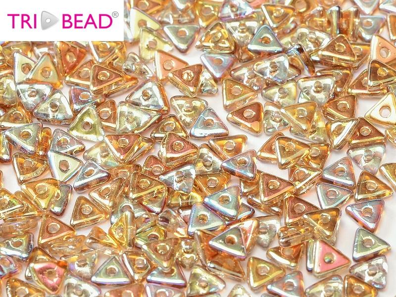 Tri-bead Crystal Brown Rainbow, per 5 gram (±140 stuks)