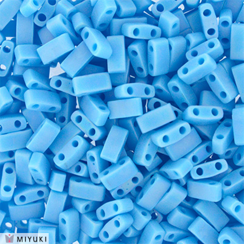 HTL-0413FR Half Tila Beads Opaque Turquoise Blue Matted AB, per 5 gram