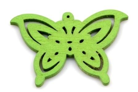Hanger vlinder hout groen  50 bij 35 mm wit, per stuk