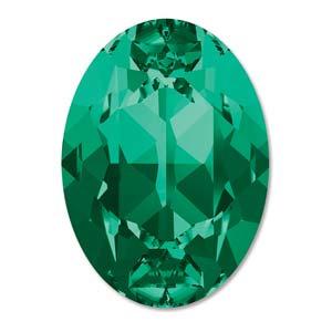 Swarovski #4120 8x6mm Emerald, foiled, per 10 stuks of 1 stuk
