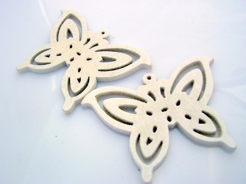 Hanger vlinder hout 50 bij 35 mm wit, per stuk