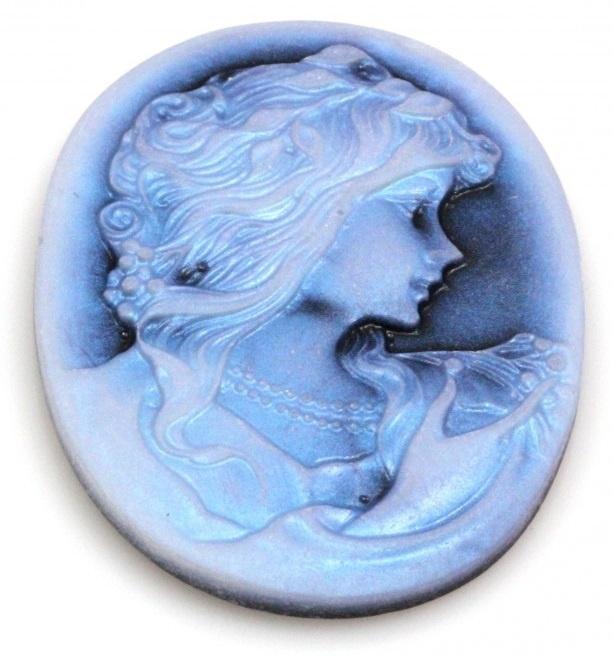 35x45mm ovaal, vrouw blauw, per stuk