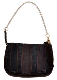 Maliparmi bruin zwart handtasje met ritssluiting