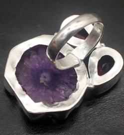Zilveren ring met solar quartz en topaz