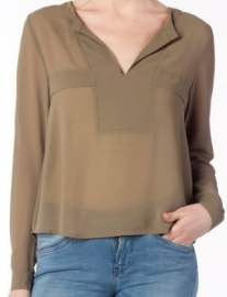 Blouse groene-taupe Supertrash