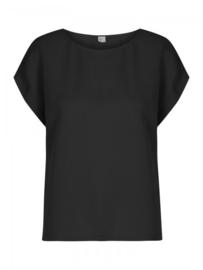 Wow To Go. Linnen T-shirt met boothals zwart