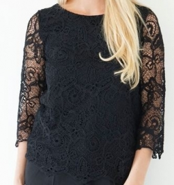 Zwarte kanten blouse Dry Lake