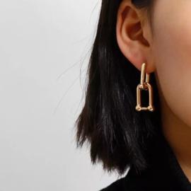 Chain oorbellen goudkleurig