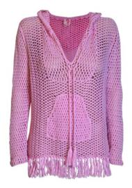 Gehaakte Sweatshirt met capuchon Anna Kosturova Candy Roze