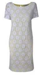 Kathleen Madden witte-gele kanten jurk