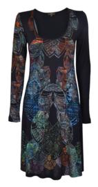 Surkana zwarte jurk met kleurrijke print
