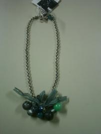 Ketting watergroen- grijs-turquoise Roses of Antwerp